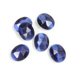 Fiber-Optic Flat Back Cabochon - Rauten Rose Oval 10x8MM CAT'S EYE BLUE