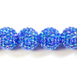 Acrylic Rhinestone Bead with 2MM Hole Resin Base - 20MM SAPPHIRE