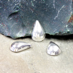 Plastic Flat Back Metalized Cabochon - Pear 13x8.5mm SILVER