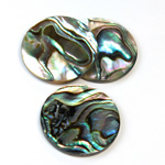 Shell Flat Back Flat Top Straight Side Stone - Round 25MM ABALONE