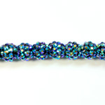 Acrylic Rhinestone Bead with 2MM Hole Resin Base - 12MM METALLIC BLUE