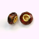 Glass Faceted Bead with Large Hole Gold Plated Center - Round 14x9MM DARK TOPAZ