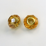 Glass Faceted Bead with Large Hole Gold Plated Center - Round 14x9MM TOPAZ