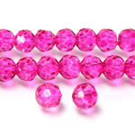 Chinese Cut Crystal Bead 32 Facet - Round 06MM DARK PINK COAT