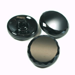 Glass Button - Cut & Polished Top Round 22.5MM JET
