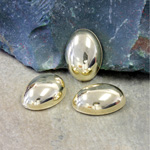 Plastic Flat Back Metalized Cabochon - Oval 18x13MM GOLD