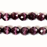 Fiber Optic Synthetic Cat's Eye Bead - Round Faceted 08MM CAT'S EYE PURPLE