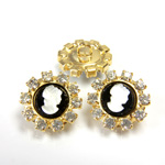 Czech Rhinestone Button - Round 18MM CRYSTAL-GOLD