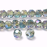 Chinese Cut Crystal Bead 32 Facet - Round 06MM GREEN TRANSFER COAT