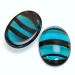 Glass Medium Dome Cabochon - Oval 25x18MM BLUE TORTOISE