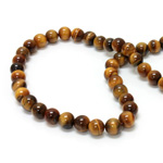 Gemstone Bead - Smooth Round 08MM TIGEREYE