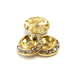 Czech Rhinestone Rondelle Shrag Rivoli Back Setting - Round 15MM outside with 10.5mm (ss47) Recess CRYSTAL-GOLD