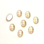 Glass Medium Dome Foiled Cabochon - Coated Oval 07x5MM CRYSTAL AB
