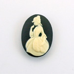Plastic Cameo - Girl Oval 25x18MM IVORY ON BLACK