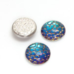 Glass Medium Dome Snakeskin Mosaic Cabochon - Round 15MM HELIO GREEN