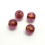 Plastic Bead - Bronze Lined Veggie Color Smooth Large Hole  Round 10MM MATTE AMETHYST