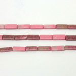 Gemstone Bead - Rectangle Smooth 13x4MM RHODONITE