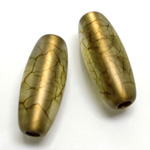 Plastic Bead - Bronze Lined Veggie Color Smooth Oval 34x15MM MATTE OLIVE