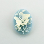 Plastic Cameo - Butterfly Oval 25x18MM WHITE ON BLUE
