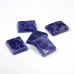 Gemstone Flat Back Single Bevel Buff Top Stone - Cushion 12x10MM SODALITE