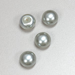 Glass High Dome Cabochon Pearl Dipped - Round 12MM LT BLUE