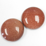 Man-made Cabochon - Round 25MM BROWN GOLDSTONE
