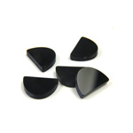 Gemstone Flat Back Flat Top Straight Side Stone - Half Oval 10x7MM BLACK ONYX