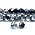 Chinese Cut Crystal Bead 32 Facet - Round 06MM JET with HALF SILVER