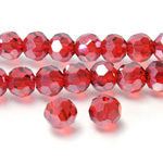Chinese Cut Crystal Bead 32 Facet - Round 06MM RED with SILVER CHAMPAGNE COAT