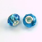 Glass Faceted Bead with Large Hole Silver Plated Center - Round 14x9MM AQUA