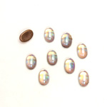 Glass Medium Dome Foiled Cabochon - Coated Oval 06x4MM ROSALINE AB