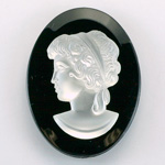 German Plastic Cameo - Woman Oval 40x30MM MATTE CRYSTAL ON JET