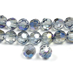 Chinese Cut Crystal Bead 32 Facet - Round 06MM CRYSTAL with HALF LT BLUE COAT
