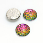 Glass Medium Dome Snakeskin Mosaic Cabochon - Round 15MM HELIO RED