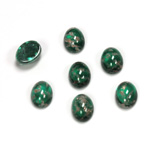 Glass Medium Dome Lampwork Cabochon - Oval 08x6MM GOLD FLECK EMERALD (05053)