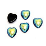 Glass Medium Dome Cabochon - Coated Heart 10x9MM JET AB