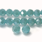 Chinese Cut Crystal Bead 32 Facet - Round 06MM AQUA JADE with SILVER CHAMPAGNE COAT