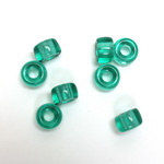 Czech Pressed Glass Roller Bead - Smooth Pony 09x6MM LT EMERALD