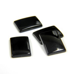 Gemstone Flat Back Single Bevel Buff Top Stone - Cushion 14x10MM BLACK ONYX