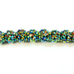 Acrylic Rhinestone Bead with 2MM Hole Resin Base - 12MM METALLIC GREEN