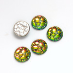 Glass Medium Dome Snakeskin Mosaic Cabochon - Round 11MM HELIO RED