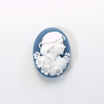 Plastic Cameo - Lady with Flowers Oval 25x18MM WHITE ON NAVY BLUE