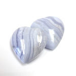 Gemstone Cabochon - Heart 25MM BLUE LACE AGATE