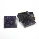 Man-made Gemstone Flat Back Single Bevel Buff Top -  Cushion 16x12MM BLUE GOLDSTONE