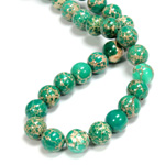Gemstone Bead - Smooth Round 10MM SEA SEDIMENT JASPER DYED GREEN