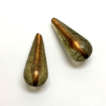 Plastic Bead - Bronze Lined Veggie Color Smooth Pear 29x12MM MATTE OLIVE