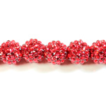 Acrylic Rhinestone Bead with 2MM Hole Resin Base - 16MM RUBY