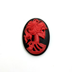 Plastic Cameo - Lolita Skeleton Oval 25x18MM RED ON BLACK