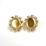 Czech Rhinestone Button - Oval 18x16MM CRYSTAL-GOLD
