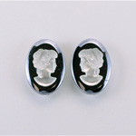 German Plastic Cameo - Woman Oval 18x13MM MATTE CRYSTAL ON HEMATITE